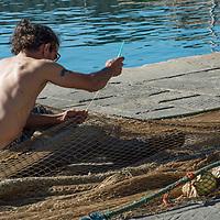 Fishing net repair, Santa Margerita,Liguria, Italy