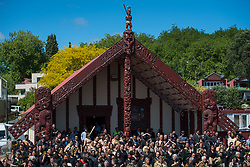 People await the arrival of the Duke and Duchess of Sussex for a visit to Te Papaiouru, Ohinemutu, in Rotorua, before a lunch in honour of Harry and Meghan, on day four of the royal couple's tour of New Zealand.