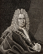 Johann Heinrich Schulze (1687-1744) Professor anatomy at Altdorf.  Important in the history of photography because in 1725 he noticed the darkening of silver nitrate when exposed to light.  From 'Icones Virorum' by Friedrich Roth-Scholtz (Nuremberg, 1725)