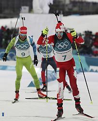 February 11, 2018 - Pyeongchang, GANGWON, SOUTH KOREA - Feb 11, 2018-Pyeongchang, South Korea-Christian GOW of Canada action on the snow during an Olympic Biathlon Mens Sprint 10Km at Biathlon Center in Pyeongchang, South Korea. (Credit Image: © Gmc via ZUMA Wire)
