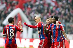 14.02.2015, Allianz Arena, Muenchen, GER, 1. FBL, FC Bayern Muenchen vs Hamburger SV, 21. Runde, im Bild l-r: Torjubel von Juan Bernat #18 (FC Bayern Muenchen), Arjen Robben #10 (FC Bayern Muenchen), Rafinha #13 (FC Bayern Muenchen), Mehdi Benatia #5 (FC Bayern Muenchen) und David Alaba #27 (FC Bayern Muenchen) // during the German Bundesliga 21th round match between FC Bayern Munich and Hamburger SV at the Allianz Arena in Muenchen, Germany on 2015/02/14. EXPA Pictures © 2015, PhotoCredit: EXPA/ Eibner-Pressefoto/ Kolbert<br /> <br /> *****ATTENTION - OUT of GER*****