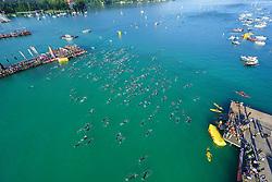 28.06.2015, Metnitzstrand, Klagenfurt am Wörthersee, AUT, Ironman Austria 2015, im Bild der Start der Schwimmer, Luftaufnahme, Drohne, Luftbild, Schwimmstart // during the 2015 IRONMAN Austria at the Metnitzstrand, Klagenfurt, Austria on 2015/06/28. EXPA Pictures © 2015, PhotoCredit: EXPA/ Gert Steinthaler