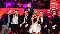 (left to right) Woody Harrelson, Andy Serkis, Mark Wahlberg, Graham Norton (behind), Sienna Miller, Tom Holland and Alison Moyet during filming of the Graham Norton Show at the London Studios, to be aired on BBC One on Friday evening.