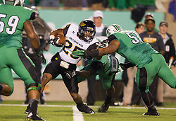 Oct 9, 2015; Huntington, WV, USA; Southern Miss Golden Eagles running back Ito Smith makes a catch during the first quarter against the Marshall Thundering Herd at Joan C. Edwards Stadium. Mandatory Credit: Ben Queen-USA TODAY Sports