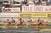 Bled, Slovenia, YUGOSLAVIA.   TCH 4+, celebrate silver in the men's Coxed Four at the 1989 World Rowing Championships, Lake Bled. [Mandatory Credit. Peter Spurrier/Intersport Images]  Gold, ROM M4+ bow, Vasile NASTASE, Dimitrie POPESCU, Valentin ROBU, Stroke Vasile TOMOIAGA cox, Marin GHEORGHE .Silver TCH M4+, Michal SUBRT, Pavel MENSIK, Dusan VICIK Stroke Dusan MACHACEK cox Jiri PTAK.