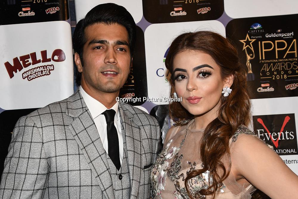 Shehzad Sheikh and presenter arrives at the Annual International Pakistan Prestige Awards (IPPA) at Indigo at The O2 on 9th September 2018, London, UK.