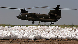 09 June 2010. Fort Jackson, Venice, Louisiana.<br /> BP OIl Spill response. Soldiers from the 843rd Engineering Company Louisiana National Guard load giant sand bags in operation 'Pelican Island Mission' as they struggle to reinforce fragile barrier islands in an effort top stem the flow of BP's catastrophic oil spill as it <br /> Photo; Charlie Varley/varleypix.com