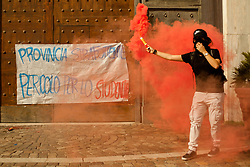 October 13, 2017 - Naples, Campania, Italy - Thousands of students held a demonstration, as part of a nationwide mobilization, to protest against the so-called 'La Buona Scuola' (Good School) reform, the school-work alternation and in defence of public education in Naples, Italy on October 13. (Credit Image: © Paolo Manzo/NurPhoto via ZUMA Press)