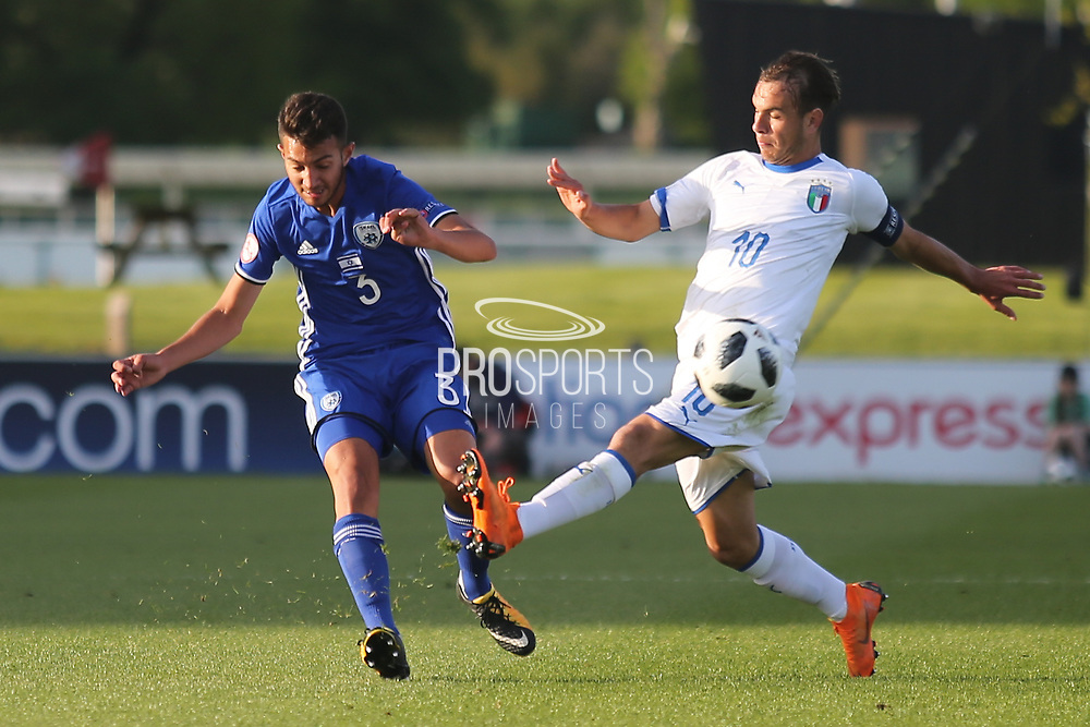 Hanan Hen Biton of Israel (3) and Alessio Riccardi of Italy (10) during the UEFA European Under 17 Championship 2018 match between Israel and Italy at St George's Park National Football Centre, Burton-Upon-Trent, United Kingdom on 10 May 2018. Picture by Mick Haynes.