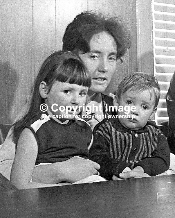 Betty Brown, with Andrew (2) and Carole (5), the family of Albert Edward Browne, sentenced to death for the murder of Police Constable Gordon Harron. 197302160100.<br /> <br /> Copyright Image from Victor Patterson, Belfast, UK<br /> <br /> t: +44 28 9066 1296 (from Rep of Ireland 048 9066 1296)<br /> m: +44 7802 353836<br /> e: victorpattersonbelfast@gmail.com<br /> <br /> www.images4media.com<br /> <br /> Please see my full Terms and Conditions of Use at https://www.images4media.com/p/terms-conditions - it is IMPORTANT that you familiarise yourself with them.<br /> <br /> Images used online incur an additional cost. This cost should be agreed in writing in advance. Online images must be visibly watermarked i.e. © Victor Patterson or that of the named photographer within the body of the image. The original metadata must not be deleted from images used online.<br /> <br /> This image is only available for the use of the download recipient i.e. television station, newspaper, magazine, book publisher, etc, and must not be passed on to a third party. It is also downloaded on condition that each and every usage is notified within 7 days to victorpattersonbelfast@gmail.com.<br /> <br /> The right of Victor Patterson (or the named photographer) to be identified as the author is asserted in accordance with The Copyright Designs And Patents Act (1988). All moral rights are asserted.