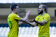 Goal Norwich City forward Teemu Pukki (22) scores a goal and celebrates with Norwich City midfielder (on loan from Tottenham Hotspur) Oliver Skipp (20) 0-1 during the EFL Sky Bet Championship match between Wycombe Wanderers and Norwich City at Adams Park, High Wycombe, England on 28 February 2021.