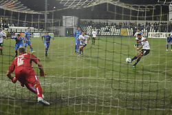 November 3, 2018 - Vercelli, Italy - Brasilian midfielder Gladestony Da Silva from Pro Vercelli score a goal during Saturday evening's match against Novara Calcio valid for the 10th day of the Italian Lega Pro championship  (Credit Image: © Andrea Diodato/NurPhoto via ZUMA Press)