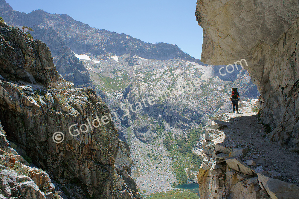 This portion of the trail in Sequoia's Western High Sierra Trail, has been blasted through the vertical granite face.