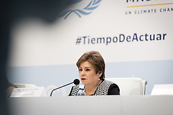 4 December 2019, Madrid, Spain: UNFCCC executive secretary Patricia Espinosa speaks at a press conference at COP25 in Madrid.