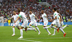 File photo dated 11-07-2018 of England's Kieran Trippier celebrating scoring his side's first goal against Croatia during the FIFA World Cup, Semi Final match at the Luzhniki Stadium, Moscow. Issue date: Tuesday June 1, 2021.