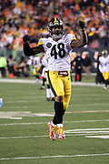 Pittsburgh Steelers outside linebacker Bud Dupree (48) leaps and celebrates after sacking Cincinnati Bengals quarterback Andy Dalton (14) on a third down play with under three minutes left in the fourth quarter, forcing a punt during the 2017 NFL week 13 regular season football game against the Cincinnati Bengals, Monday, Dec. 4, 2017 in Cincinnati. The Steelers won the game 23-20. (©Paul Anthony Spinelli)