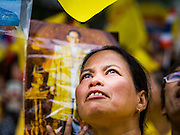 05 DECEMBER 2014 - BANGKOK, THAILAND: 05 DECEMBER 2014 - BANGKOK, THAILAND: A woman looks up to the hospital of Bhumibol Adulyadej, the King of Thailand, at Siriraj Hospital Friday. Thais marked the 87th birthday the King. The revered Monarch was scheduled to make a rare public appearance in the Grand Palace but cancelled at the last minute on the instructions of his doctors. He has been hospitalized in Siriraj Hospital, across the Chao Phraya River from the Palace, since early October.    PHOTO BY JACK KURTZ    PHOTO BY JACK KURTZ