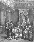 Esther, coming into presence of king Ashauerus expecting to die because she was a Jew, fainting in fear. From Gustave Dore's 'Bible', 1856.