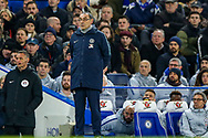 Chelsea Manager Mourizio Sarri during the The FA Cup match between Chelsea and Manchester United at Stamford Bridge, London, England on 18 February 2019.