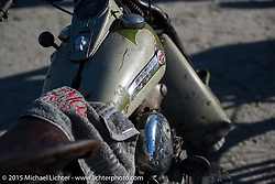 An incredible assortment of antique bikes in the pits at the Race of Gentlemen. Wildwood, NJ, USA. October 10, 2015.  Photography ©2015 Michael Lichter.