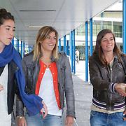 NLD/Amsterdam/20120713 - Lancering Sportglossy Londen, Naomie van As en Kim Lammers worden verwelkomt door Erica Terpstra