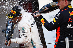 May 13, 2018 - Barcelona, Catalonia, Spain - May 13th, 2018 - Circuit de Barcelona-Catalunya, Montmelo, Spain - Race of Formula One Spanish GP 2018; Lewis Hamilton of Mercedes-AMG-Petronas Formula One Team and Max Verstappen of RedBull Racing celebrating the podium. (Credit Image: © Eric Alonso via ZUMA Wire)