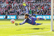 Middlesbrough goalkeeper Dimitrios Konstantopoulos watches the ball go harmlessly wide during the Sky Bet Championship match between Middlesbrough and Leeds United at the Riverside Stadium, Middlesbrough, England on 27 September 2015. Photo by Simon Davies.