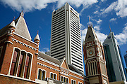 Old colonial buildings along modern skyscrappers are a constant cityscape in downtown Perth.