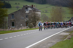 Hannah Barnes covers an Astana attack at the Liege-Bastogne-Liege Femmes - a 135.5 km road race between Bastogne and Ans on April 23 2017 in Liège, Belgium.
