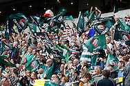 Picture by Andrew Tobin/Focus Images Ltd +44 7710 761829.25/05/2013. Leicester tigers supporters wave flags during the Aviva Premiership match at Twickenham Stadium, Twickenham.