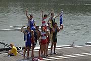 Ottensheim, AUSTRIA.  A  Final,  Men's coxed pair, medals, left Silver RA M2=, centre CAN m@+ and right AUS M2+, at the 2008 FISA Senior and Junior Rowing Championships,  Linz/Ottensheim. Sunday,  27/07/2008.  [Mandatory Credit: Peter SPURRIER, Intersport Images] Rowing Course: Linz/ Ottensheim, Austria