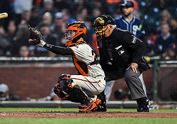 April 30, 2018 - San Francisco, CA, U.S. - SAN FRANCISCO, CA - APRIL 30: San Francisco Giants Catcher Buster Posey (28) catching during the San Francisco Giants and San Diego Padres game on April 30, 2018 at AT&T Park in San Francisco, CA. (Photo by Stephen Hopson/Icon Sportswire) (Credit Image: © Stephen Hopson/Icon SMI via ZUMA Press)