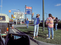 "Looking for a Ticket roadside and the Coliseum Marquee ""Warlocks"". Outside the venue, Scenes before the Second Warlocks Show. The Grateful Dead Live at The Hampton Coliseum 9 October 1989"