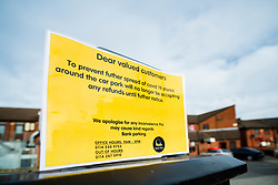 Signs of the Corona Virus. Lound Court shopping Centre Car Park, Chapeltown Sheffield<br /> 21 March 2020<br /> <br /> www.pauldaviddrabble.co.uk<br /> All Images Copyright Paul David Drabble - <br /> All rights Reserved - <br /> Moral Rights Asserted -
