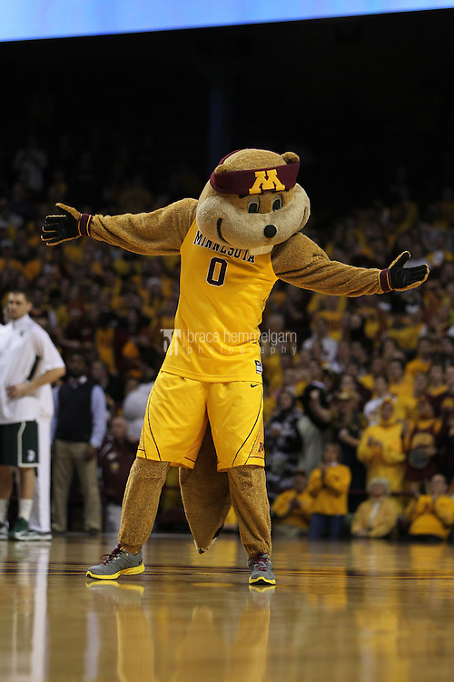 Dec 31, 2012; Minneapolis, MN, USA; Minnesota Golden Gophers mascot Goldy against the Michigan State Spartans at Williams Arena. Minnesota defeated Michigan State 76-63. Mandatory Credit: Brace Hemmelgarn