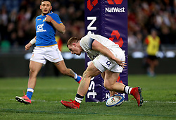 England's Sam Simmonds races clear to score his side's sixth try during the NatWest 6 Nations match at the Stadio Olimpico, Rome.