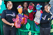 Vanda the Vulture, Oswald the Ostrich and Mac the Monkey being played by D'Anne Mahlangu, Daniel Kekana and Kitty Moepang during rehearsals for 'No Monkey Business', an AREPP: Theatre for Life production providing interactive social life skills education to school children through theatre productions. They are based in Johannesburg, South Africa and are about to go on tour for 3 months doing performances everyday at schools across the country.