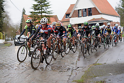 Floortje Mackaij leads the remains of the peloton at the 112.8 km Le Samyn des Dames on March 1st 2017, from Quaregnon to Dour, Belgium. (Photo by Sean Robinson/Velofocus)