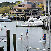 Paddleboarders meander through Shelter Cove Marina while participating in a paddleboarding program with Outside Hilton Head on April 2, 2015.