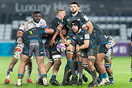 Ospreys' flanker Justin Tipuric gets the ball away from a maul during the European Rugby Challenge Cup match between Ospreys and Castres at the Liberty Stadium, Swansea, Wales on 12 December 2020.