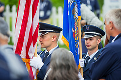 June 22, 2018 - Madison, WI, U.S. - MADISON, WI - JUNE 22: An honor guard presents the American flag prior to the start of the American Family Insurance Championship Champions Tour golf tournament on June 22, 2018 at University Ridge Golf Course in Madison, WI. (Photo by Lawrence Iles/Icon Sportswire) (Credit Image: © Lawrence Iles/Icon SMI via ZUMA Press)