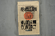 Abolish Human Contact poster paste up art on 25th May 2021 in London, United Kingdom. These posters have started to pop up all over central London and must be some kind of political comment based around the social distancing during the coronavirus pandemic.