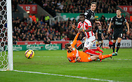 A header from Mame Diouf of Stoke goes agonisingly wide  - Football - Barclays Premier League - Stoke City vs Burnley - Britannia Stadium Stoke - Season 2014/2015 - 22nd November 2015 - Photo Malcolm Couzens /Sportimage
