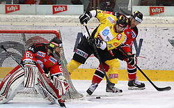05.03.2013, Albert Schultz Eishalle, Wien, AUT, EBEL, UPC Vienna Capitals vs HC Orli Znojmo, playoff best of seven, 5. Runde, im Bild zFilip Landsman, (HC Orli Znojmo, #83), Francoise Fortier, (UPC Vienna Capitals, #15) und Kyle Wharton, (HC Orli Znojmo, #77)  // during the Erste Bank Icehockey League playoff best of seven 5th round match betweeen UPC Vienna Capitals and HC Orli Znojmo at the Albert Schultz Ice Arena, Vienna, Austria on 2013/03/05. EXPA Pictures © 2013, PhotoCredit: EXPA/ Thomas Haumer