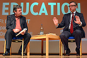 © Licensed to London News Pictures. 17/11/2012. London, UK Education Secretary Michael Gove (right) in conversation with journalist David Aaronovitch at the London Festival of Education today, 17th November 2012. Mr Gove took part in a lively question and answer session and was booed by some of the audience on arrival to stage. Photo credit : Stephen Simpson/LNP