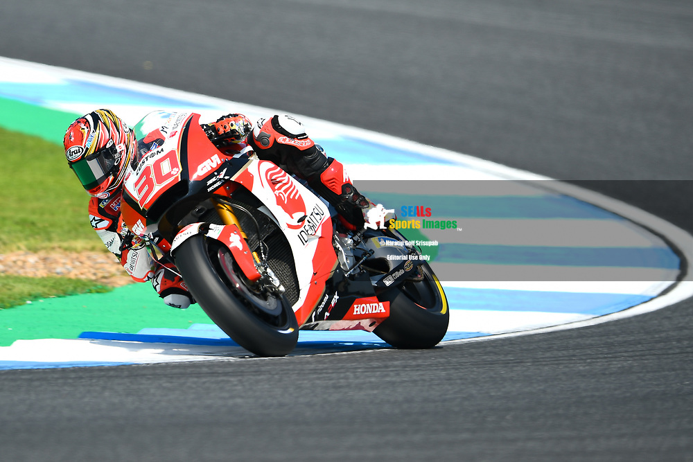 BURIRAM, THAILAND - OCTOBER 06: Takaaki Nakagami (30) of Japan and LCR Honda IDEMITSU in Turn 3 during FP3 at the MotoGP PTT Thailand Grand Prix 2018, Chang International Circuit, Buriram, Thailand on October 06, 2018. <br /> .<br /> .<br /> .<br /> (Photo by: Naratip Golf Srisupab/SEALs Sports Images)<br /> .<br /> Any image use must include a mandatory credit line adjacent to the content which should read: Naratip Golf Srisupab/SEALs Sports Images