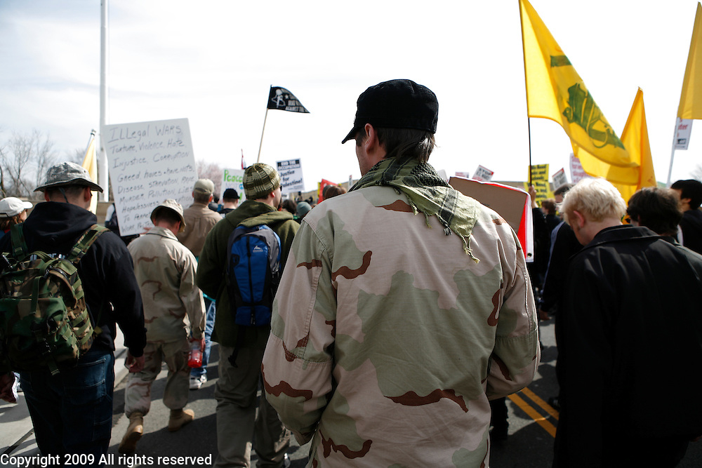 Iraq Veterans Against the War participate in the March on the Pentagon. March 21, 2009. Washington, D.C.