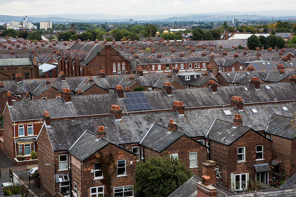Solar PV panels on the roof of Debbie Ellen's house in Manchester.