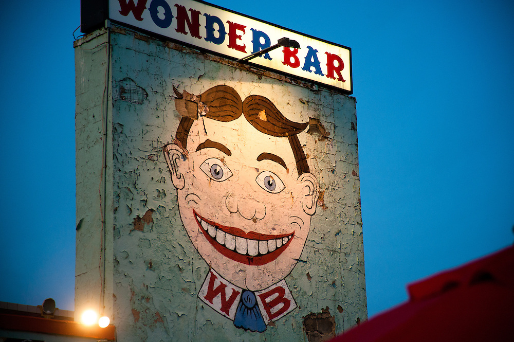 Wonder Bar sign in Asbuy Park with Tilly