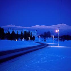 Dusk falls on Mt. Washington, New England's tallest mountain. Winter. White Mountains. Presidential Range.